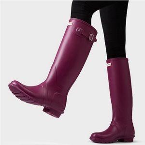 Hunter Original Tall Gloss Magenta Rain Boot 6